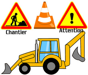 Azyme découpé chantier camion travaux