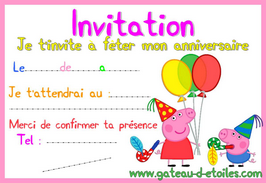 Invitation gratuite Peppa Pig