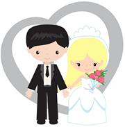 Silhouette mariés comestible wedding cake